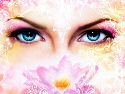 blue women eyes beaming up enchanting from behind a blooming rose lotus flower, with ornaments